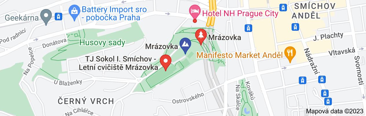 Mapa oblasti park mrázovka